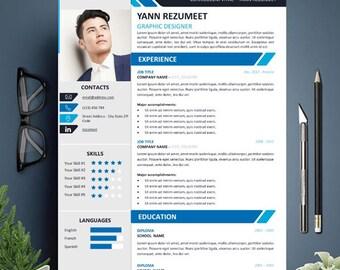 Creative Resume Template for Word, Modern Resume, Instant Digital Download, cv template, one page resume, cv design, professional cv