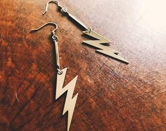 Lightning bolt earrings  - silver dangle earrings