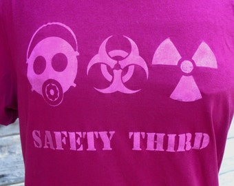 SAFETY THIRD Triple Disaster tshirt - womens fuchsia magenta tshirt Gas Mask Biohazard Radioactive etsybrc Burning Man plus size 3XL