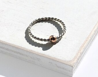 Rope Fidget Ring, Minimalist Ring, Spinner Ring for Women, Meditation Ring, Anxiety, Sterling Silver, Rose Gold, Worry Ring, Fidget Jewelry