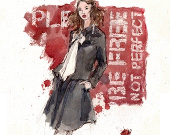 Be free not perfect - original fashion illustration