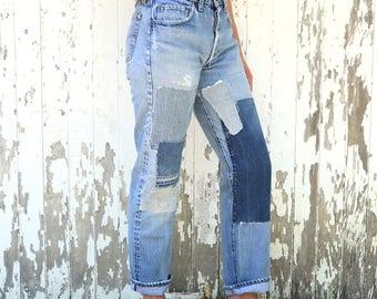 Patched LEVIS 501 Redline Jeans 30 Waist Selvedge Denim