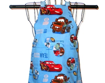 Childs Apron Ages 2 thru 4 Car Story Reversible Adjustable Kids