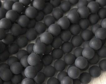 8mm Matte Black Onyx Round Beads Flat Black Mala Beads