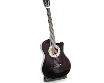 GIBSON Square Shoulder Guitar Wood Handcrafted Miniature Acoustic Guitar Black 24cm FREE STAND