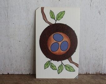 Vintage Flash Card -- Bird Nest with Eggs