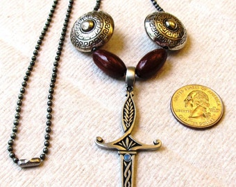 Pewter Sword Pendant Necklace with Australian Opal Cabochon