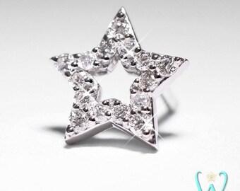 14KW Diamond Star - Stud Earring - Flat Back Earring - Cartilage Earring