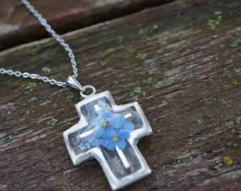 Handmade Silver Cross Pendant Blue Flower -  white gold plated silver chain necklace real pressed flower special christmas holiday gift idea