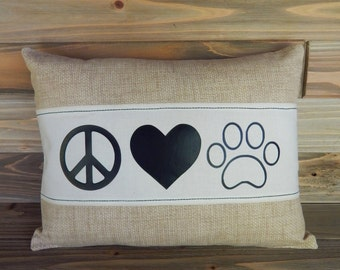 Peace Love Dog 12x16 Pillow Cover, Dog Pillow, Paw Print Pillow, Dog Lover Gift, Decorative Pillow, Throw Pillow