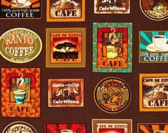 """Java Coffee Labels Valance Curtain 42"""" W x 13"""" L"""