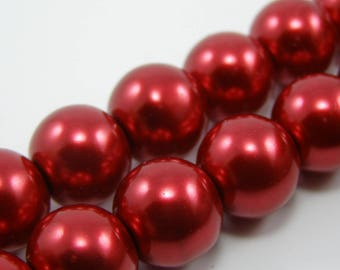 Set of 5 beads 12 mm glass Pearl carmine red