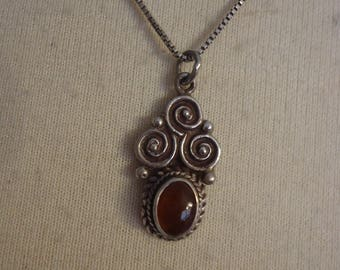 """Vintage Sterling Silver and Carnelian Gemstone Southwestern Pendant on 18"""" Sterling Chain"""