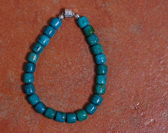 Turquoise bead bracelet, sterling silver magnet clasp