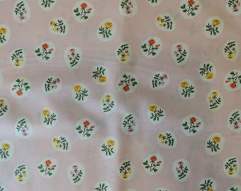 Pale pink background patchwork floral fabric