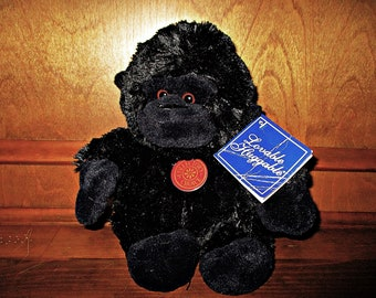 """Lovable Huggable Gorilla Plush Toy by Collector's Choice Dan Dee – Soft Gorilla Plushy - Vintage Animal – Vintage Toy – 10"""" Tall"""