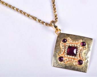 Garnet Necklace Garnet Gold Necklace Garnet Jewelry Gold Garnet Pendant Sterling Silver Gold Plated Necklace Pendant Silver Garnet Necklace