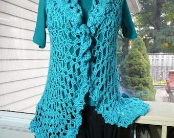 Plus Sizes - Crochet Vest. Crochet Jacket - Long, Flowing, Whispering in the Wind Deerfield Vest - many colors