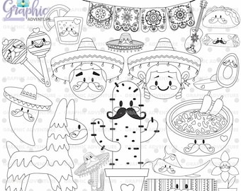 Mexican Stamps, Digi Stamp, Digital Stamp, Mexico Coloring Page, COMMERCIAL USE, Mexico Digistamp, 5 de Mayo, Festive 5 de Mayo