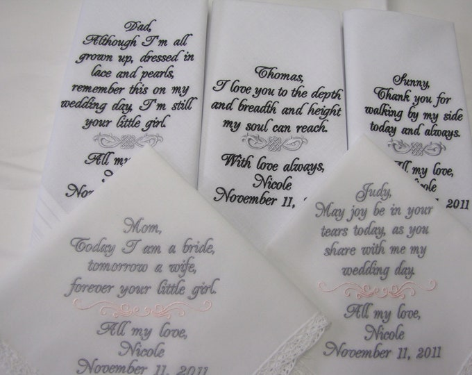 Five Wedding Party Handkerfchiefs, Personalized Custom Embroidered Wedding Hankys, Wedding Hankies