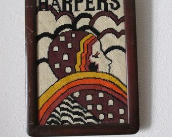 Vintage 1970's Inspired Harper's Bazaar Cover Framed Cross-stitch