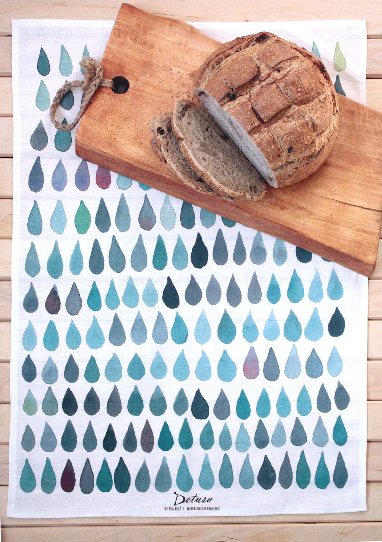 Küchentuch Geschirrtuch Leinen Malerei in Wasserfarben