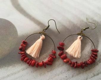 Red coral earrings red earrings