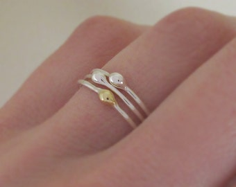 Rain Stacking Ring Set in Sterling Silver and 22k Gold, Set of Three