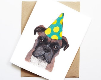 Birthday Card - Boxer, Dog Birthday Card, Cute Birthday Card, Dog Card, Bday Card, Kids Birthday Card, Friend Birthday Card