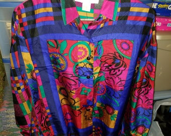 Retro Style Ladies Silk Gypsy Size XS Buttoned Shirt