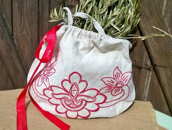 Antique Natural Linen Purse Handmade French Red Work Hand Embroidered Bag #sophieladydeparis