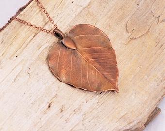 Electroformed Heart Shaped Leaf Copper Necklace R1