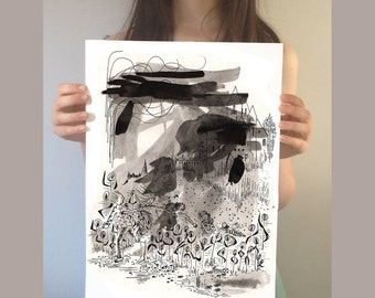 Original Illustration. The selfish Giant Ink painting. Original wall art. Black and white painting. Original painting. Pen and ink drawing