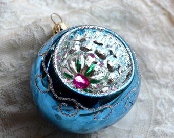 Vintage Christmas Ornament - Pink Flower Blue Indent - Glitter