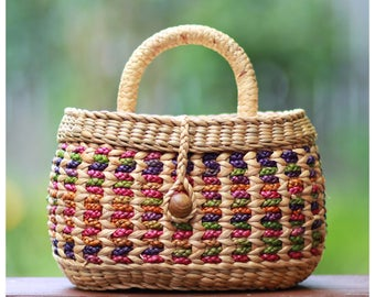 straw bag, straw basket bag, straw handbag, straw mini basket straw handbag (Molly rose-Multi)