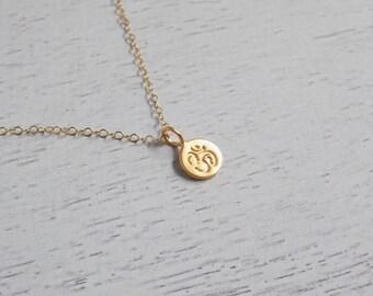 Tiny Gold Ohm Om Minimalist Necklace, Yoga Necklace, Yoga Jewelry, 24K Gold Vermeil Necklace, Delicate Charm Necklace, Layering Necklace