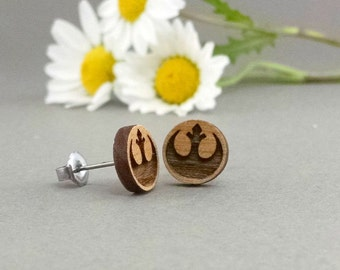 Star Wars Rebel Alliance Symbol Earrings - Laser Engraved on Alder Wood - Hypoallergenic Titanium Post Earrings