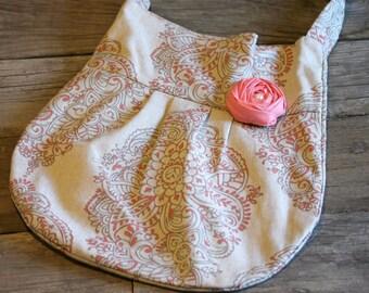 Bohemian Purse, Cross Body Handbag, Coral Purse, Damask Purse, Fashionable Purse, Coral Hipster Bag,  Handbag