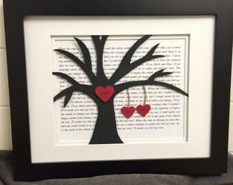 First Anniversary, Wedding Song Art, Wedding Vows, First Dance Lyrics, Song Lyrics Tree, Wedding Gift, Gift for Newlyweds, Hanging Hearts