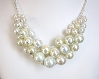 Pearl Cluster Necklace in Shades of Light in Ivory and White- Chunky, Choker, Bib, Necklace, Wedding, Bridal, Bridesmaid