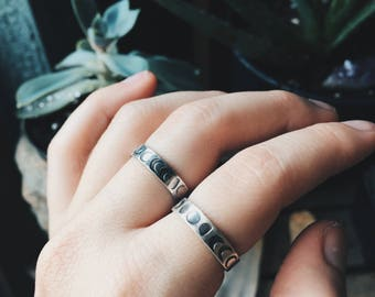 Eclipse or Moon Phases - Sterling Silver Stacking Ring