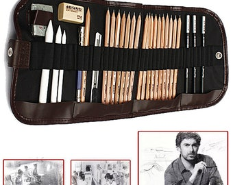 29Pcs Set Sketch Pencils Charcoal Extender Eraser Paper Pen Cutter Drawing Bag