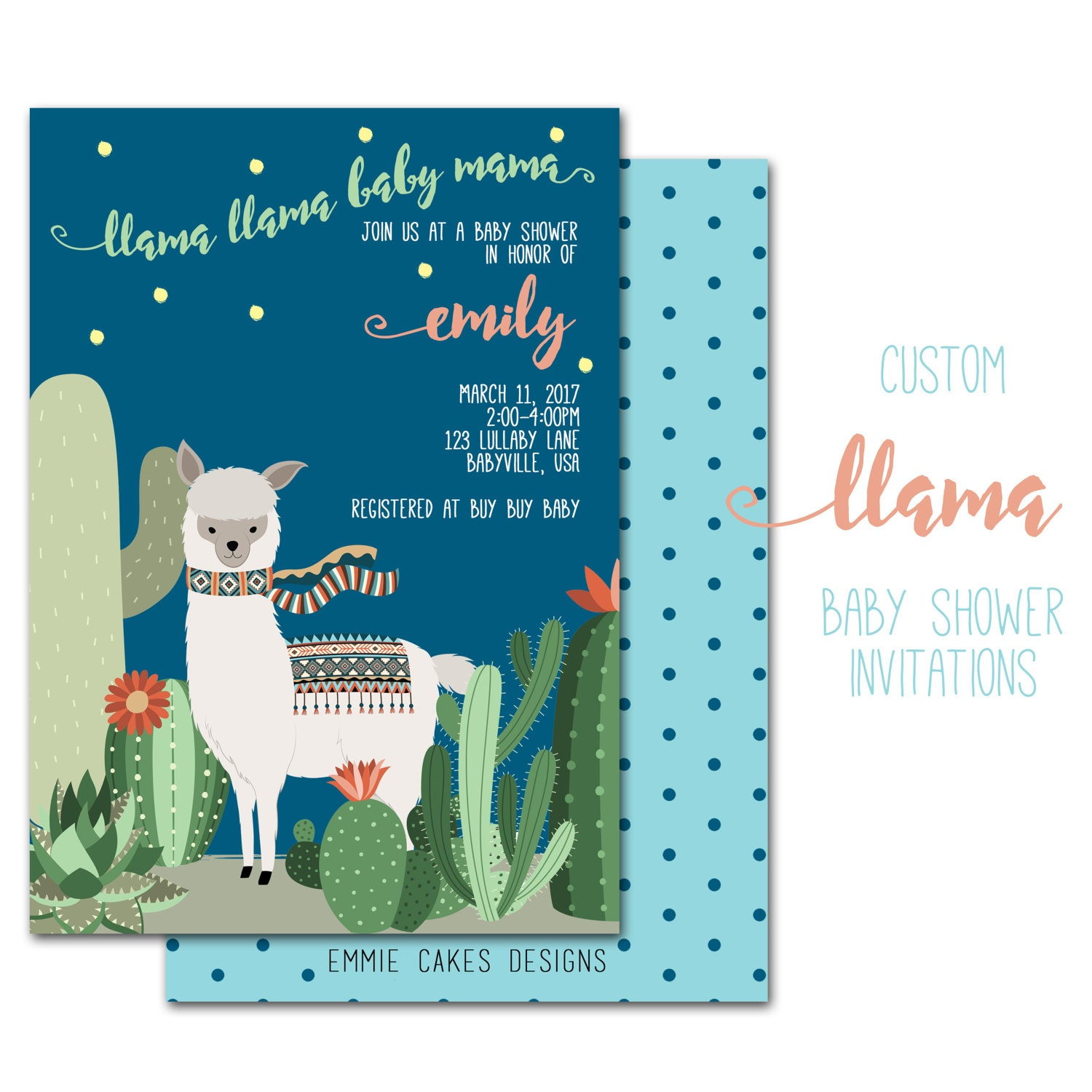 Llama Baby Shower Invitation Custom Party Invite Baby Boy
