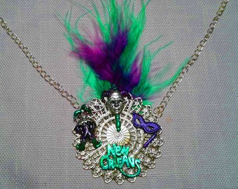 Hand Painted Mardi Gras Feather Necklace. Green and Purple.