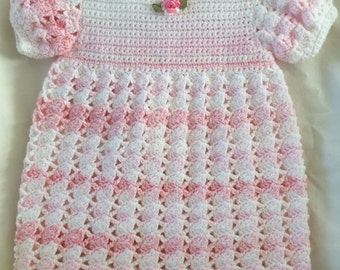 Baby Girl Crocheted Dress in Pink