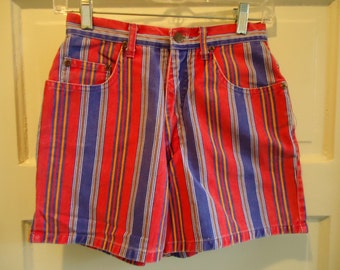 Vintage 90s Striped High Waisted Short Shorts sz XS