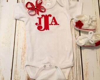Newborn baby Monogram romper or shirt / newborn baby outfit / monogrammed newborn romper / new baby take home hospital outfit