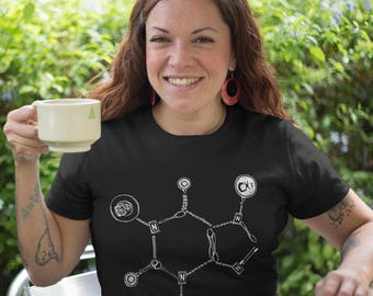 T-shirt Caffeine molecule chemistry coffee barista chemist Tshirt Ladies Cotton shirt latte cappuccino beverage drink addict espresso