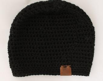 Mens crochet hat   Mens accessories   Winter accessories   Mens hat   Black crochet hat   Black hat   Mens beanie   Mens beanie   Crochet