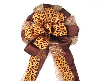 Leopard Bow / Christmas Bow / Tree Topper Bow / Wreath Bow /  Brown Copper Bronze Leopard Bow